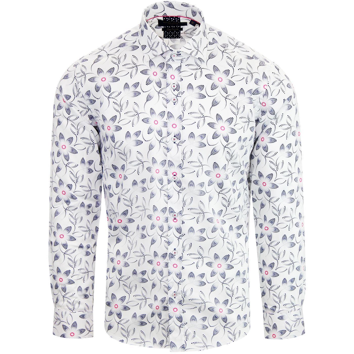 GUIDE LONDON Retro 1960s Flower Print Shirt WHITE