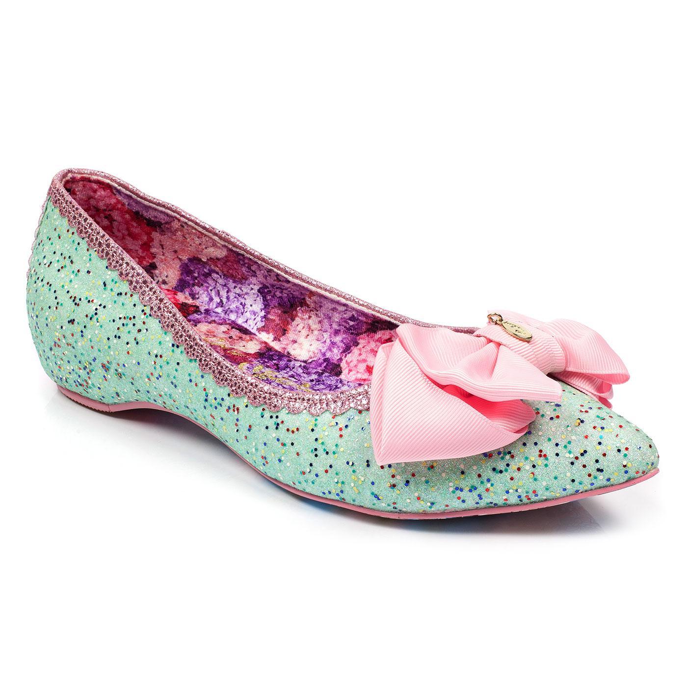 Mint Slice IRREGULAR CHOICE Pointed Glitter Flats