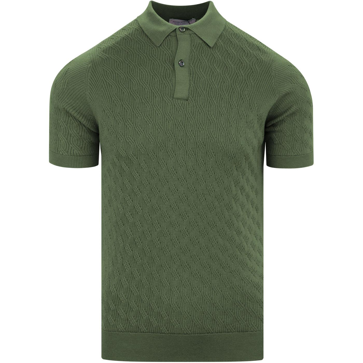 Popplewell JOHN SMEDLEY Cable Knit Polo Shirt (SG)