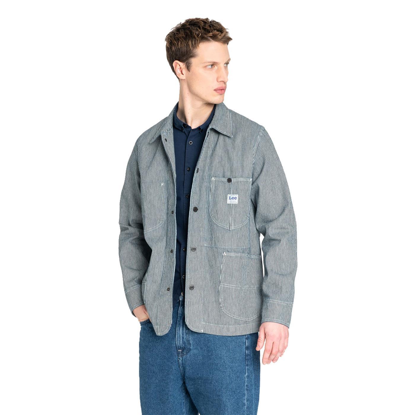 LEE JEANS Men's Retro Loco Pinstripe Denim Jacket