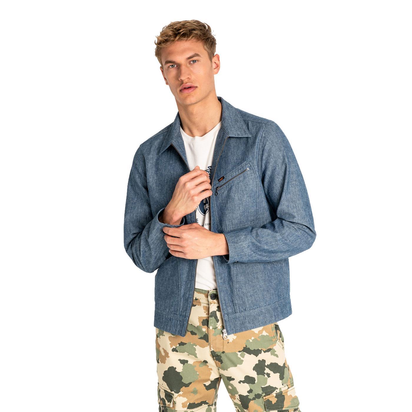 LEE JEANS Men's Retro Zip Through Denim Jacket