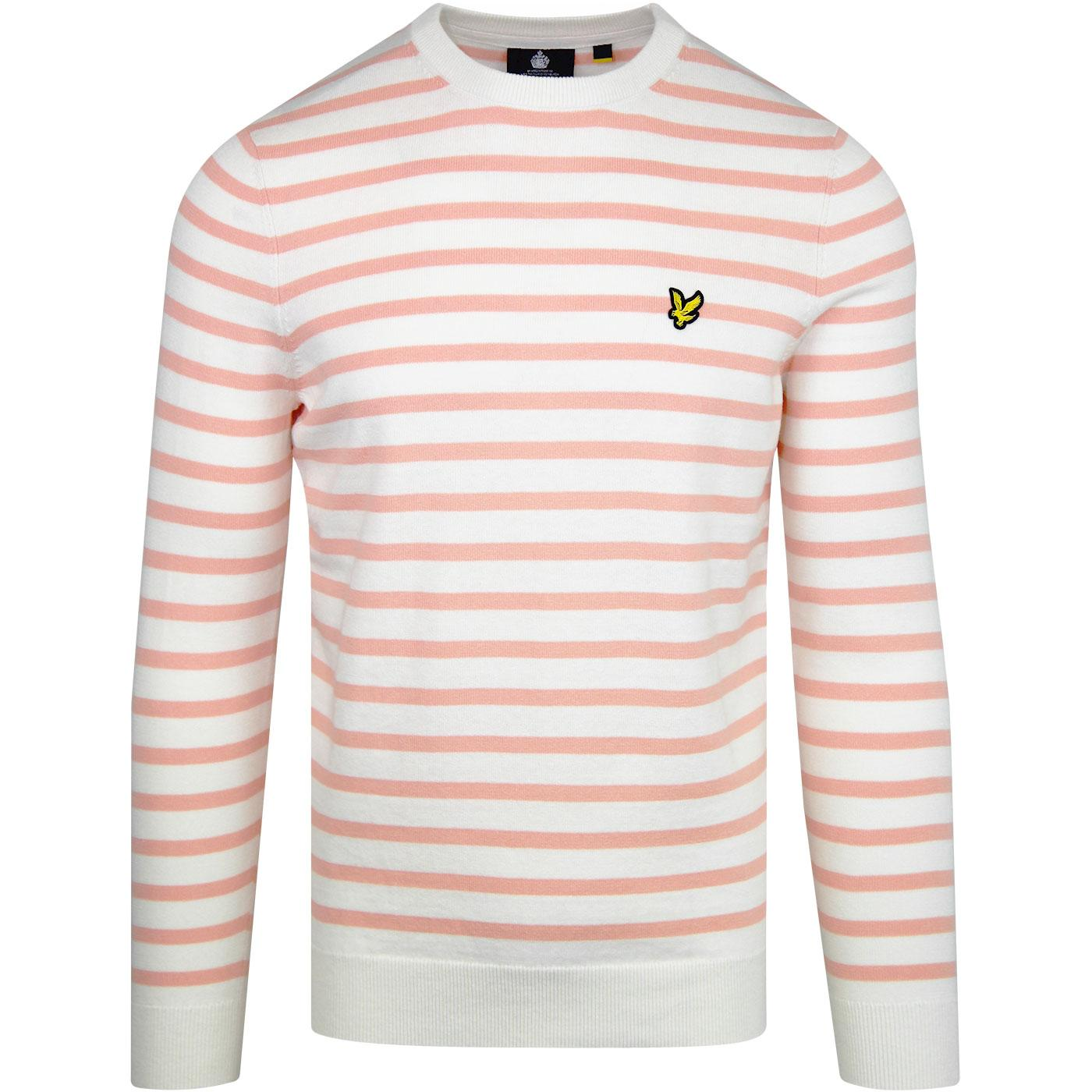 LYLE & SCOTT Retro Mod Breton Stripe Jumper CORAL