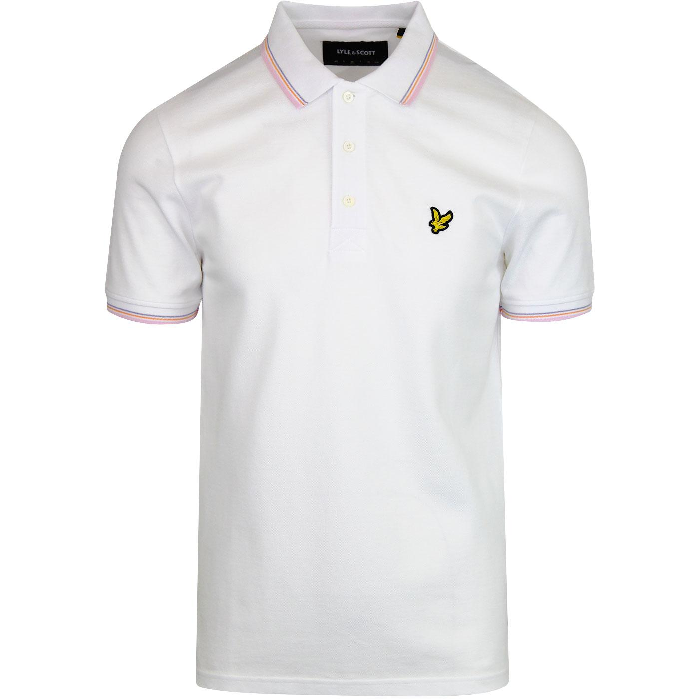 LYLE & SCOTT Retro Mod Tipped Pique Polo Top WHITE