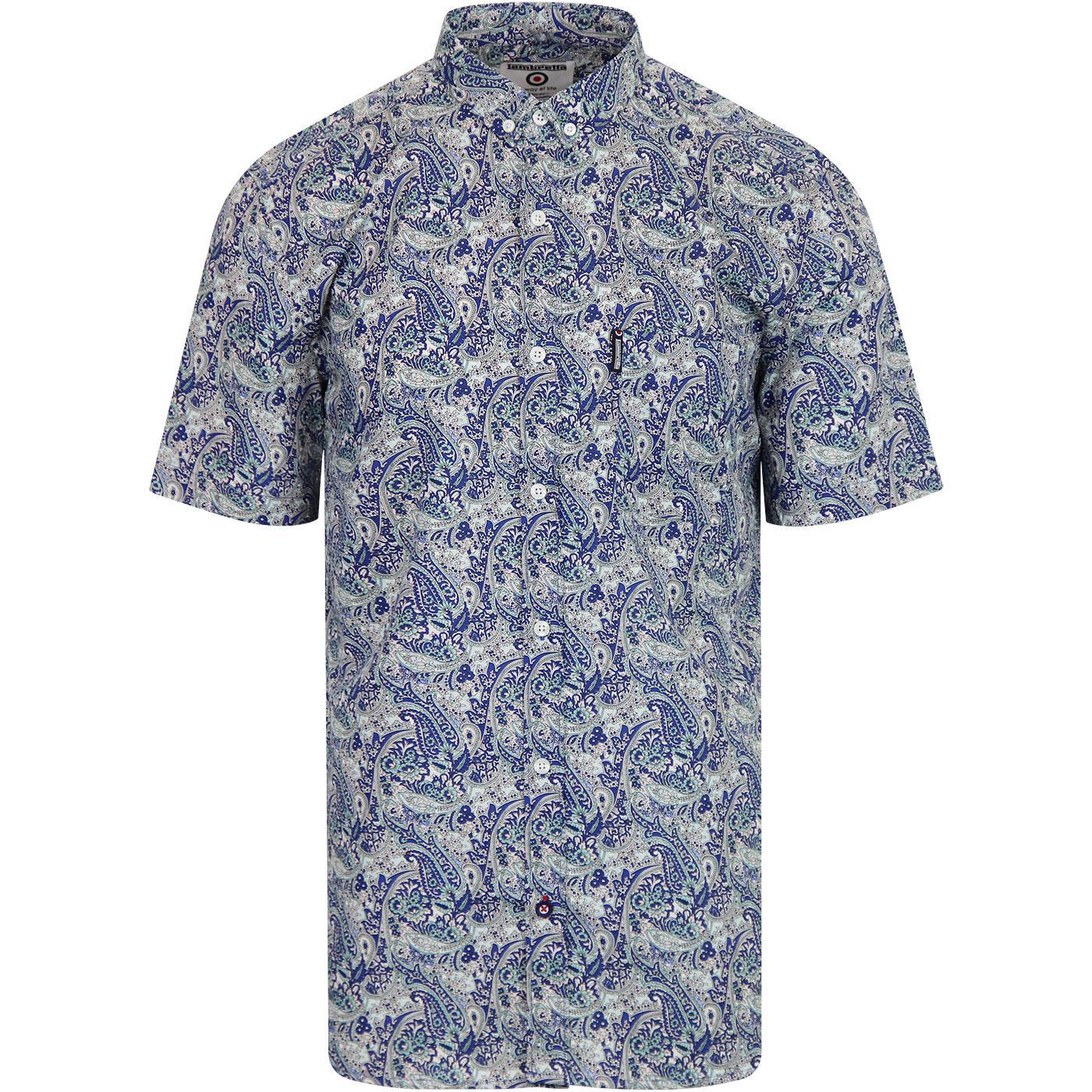 LAMBRETTA Retro S/S Paisley Printed Mod Shirt BLUE