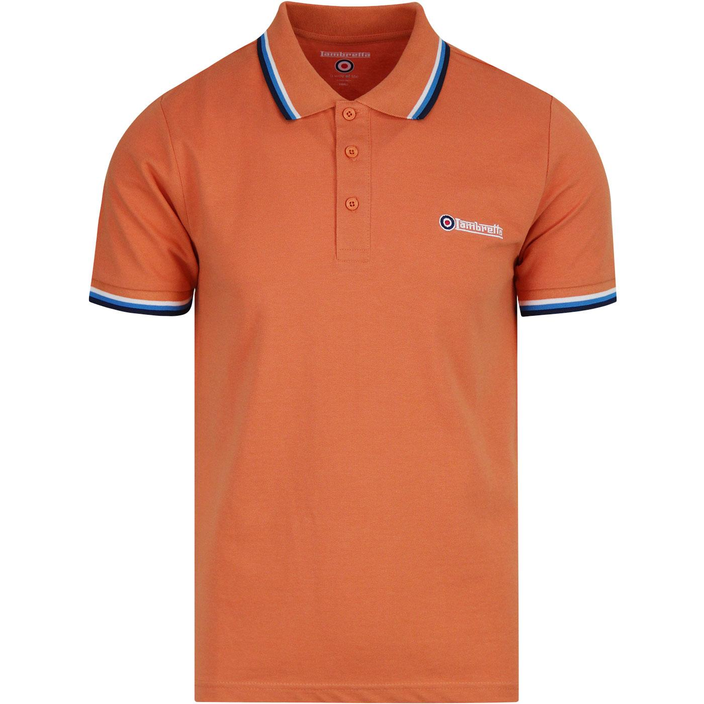 LAMBRETTA Retro Mod Triple Tipped Polo CARNELIAN