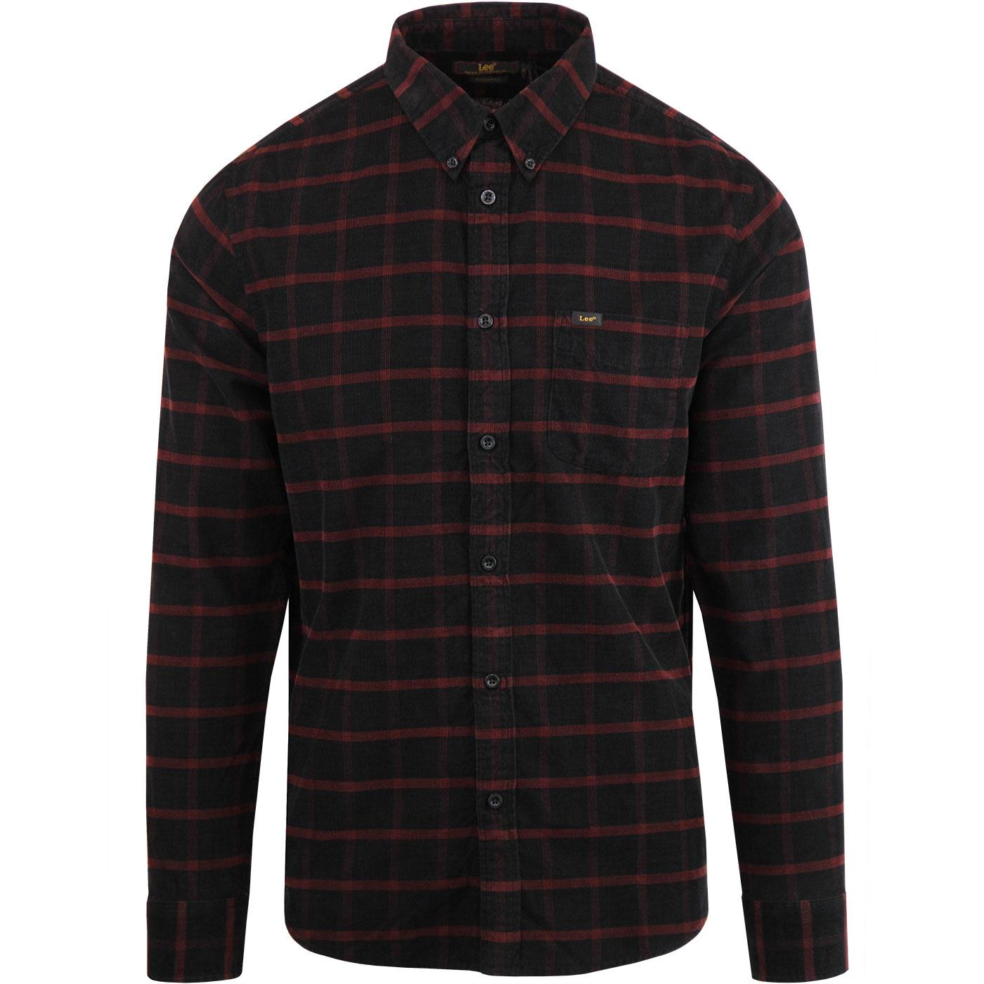 LEE JEANS 60's Mod Fine Cord Check Shirt - Rhubarb