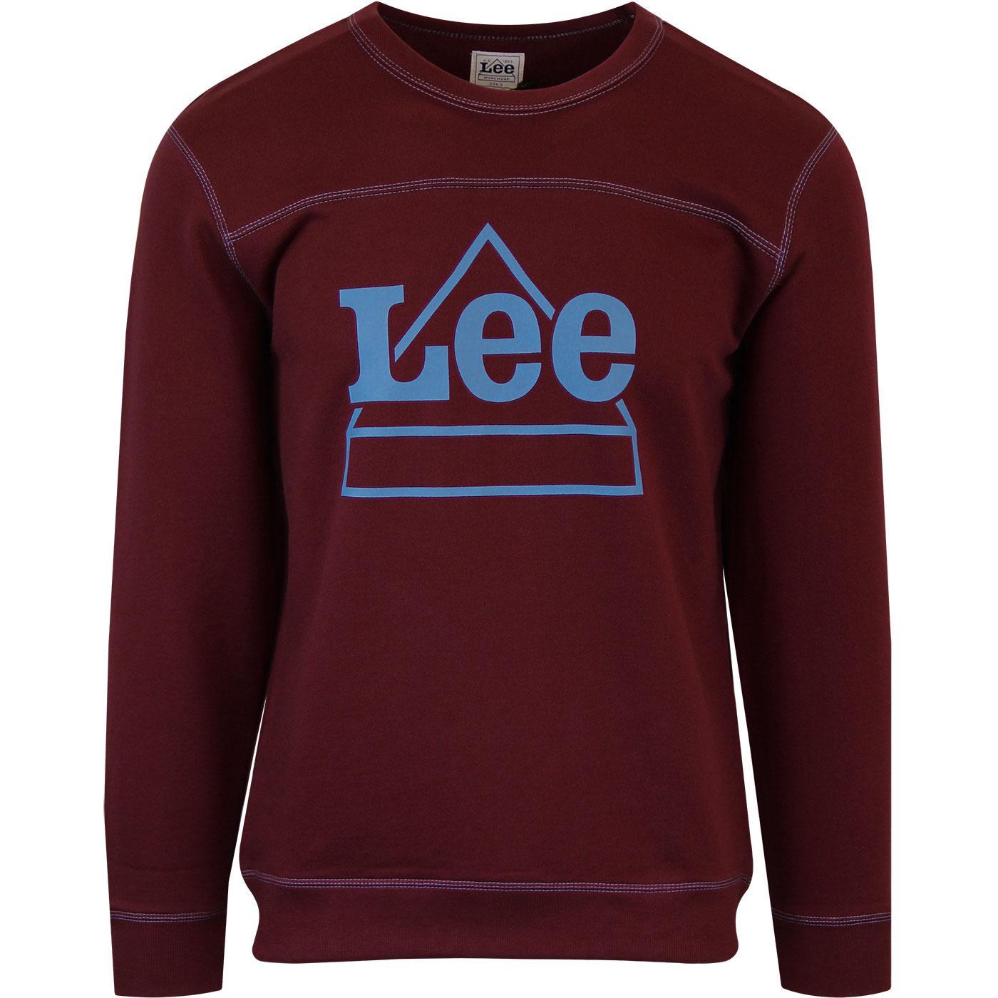 LEE Mens Worker Logo Varsity Sweatshirt MAROON