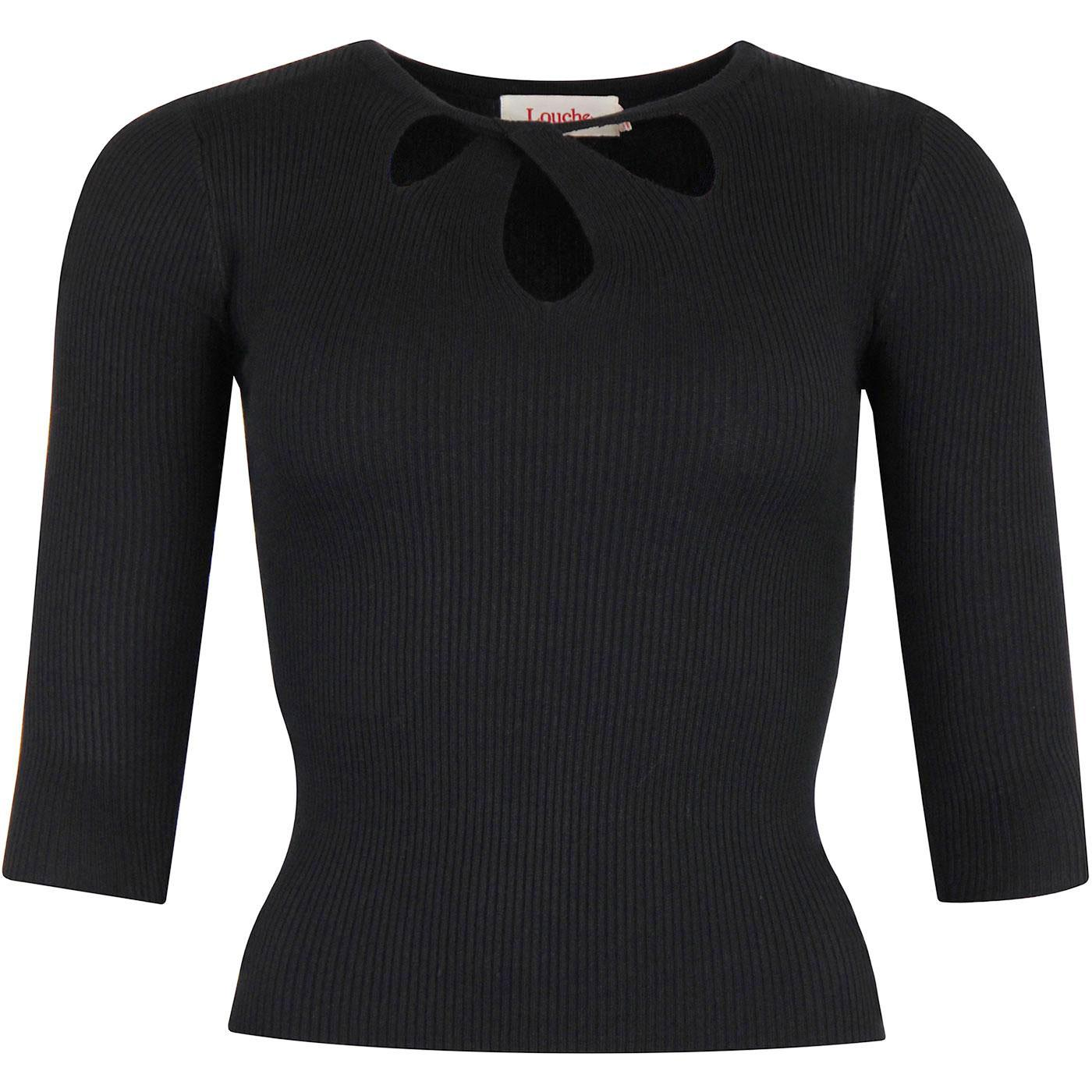 Lylou LOUCHE Retro Vintage Twist Collar Top in (B)