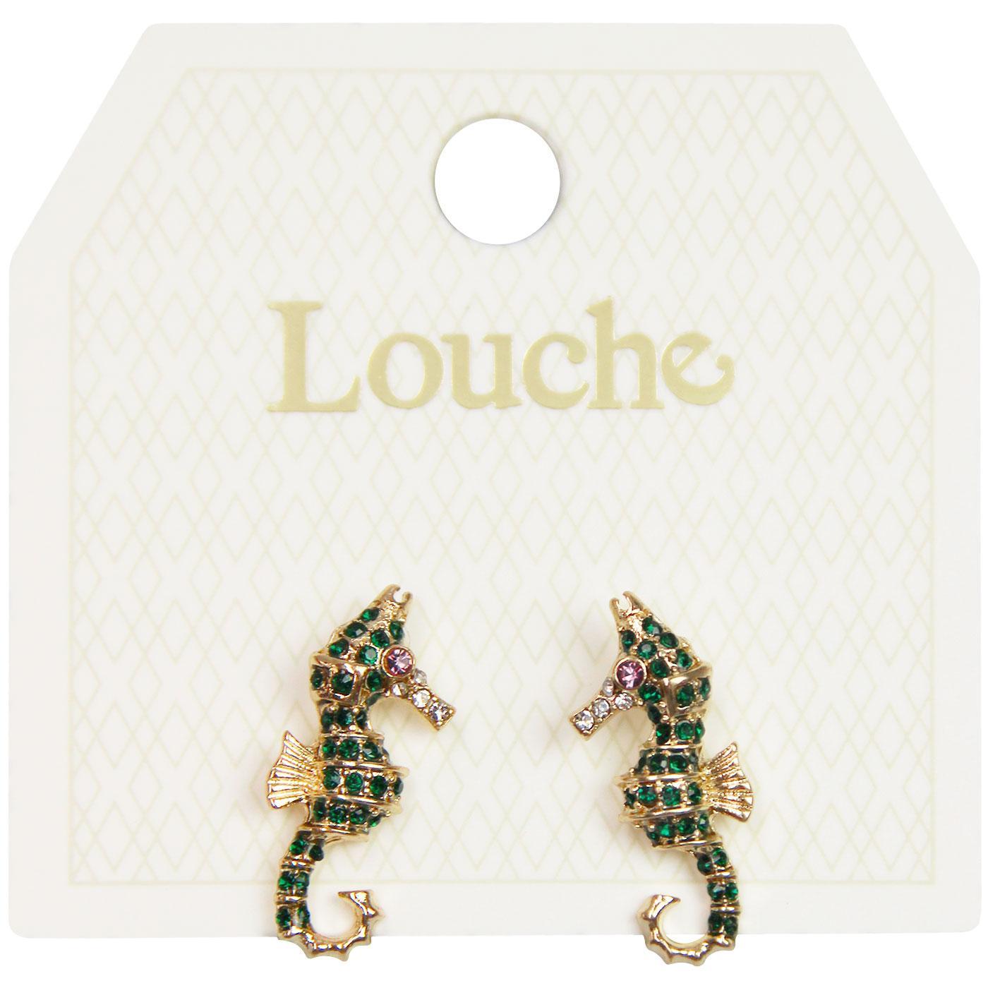 Ora LOUCHE Vintage Gem Seahorse Earrings In Green