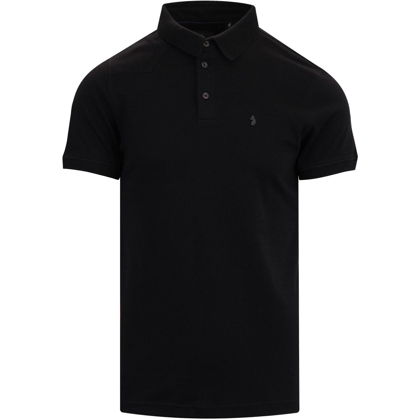 Gentry LUKE Knitted Collar Mod Polo Top JET BLACK