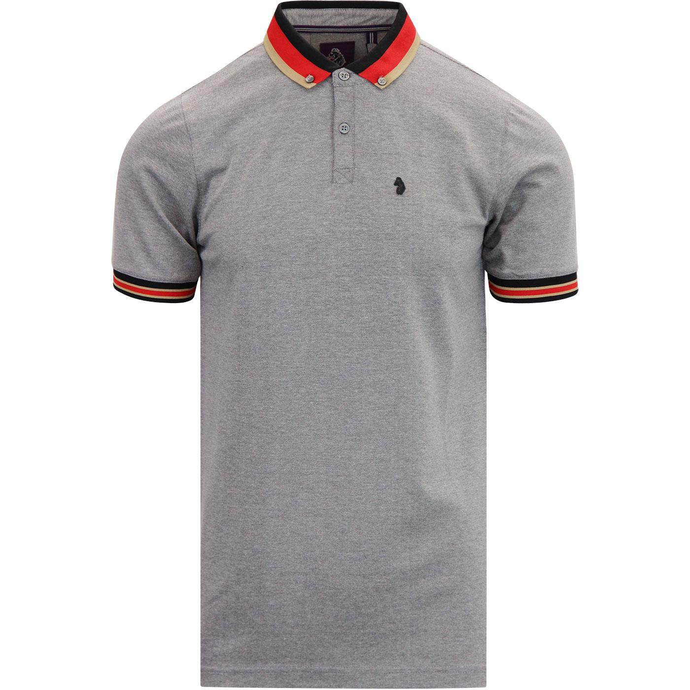Percyville LUKE 1977 Stripe Collar Mod Polo SILVER