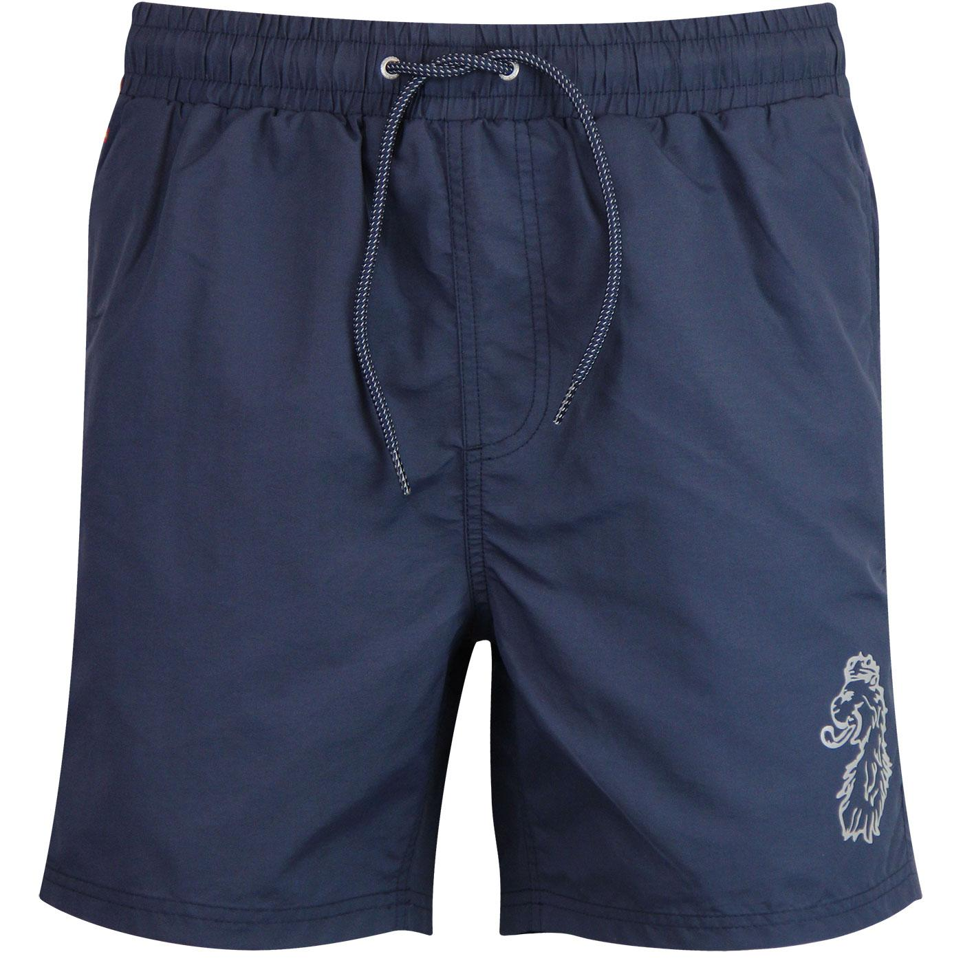 Fuse LUKE Reflective Logo Print Swim Shorts NAVY