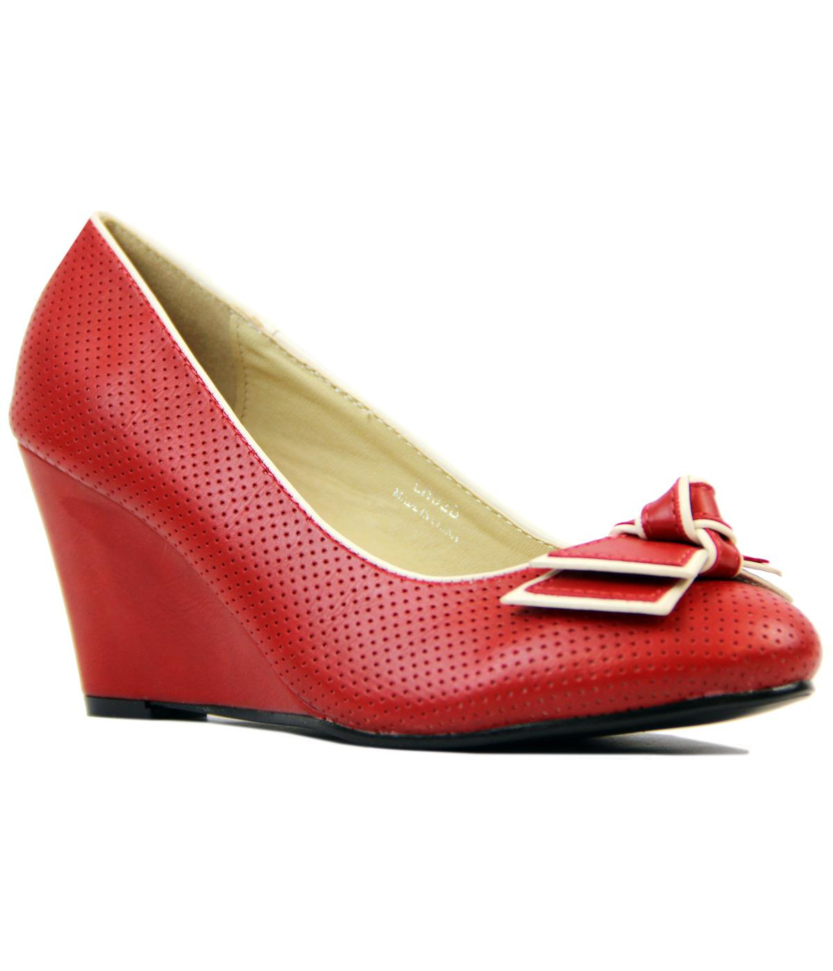 Elisa LULU HUN Retro 1960s Vintage Mid Wedges Red