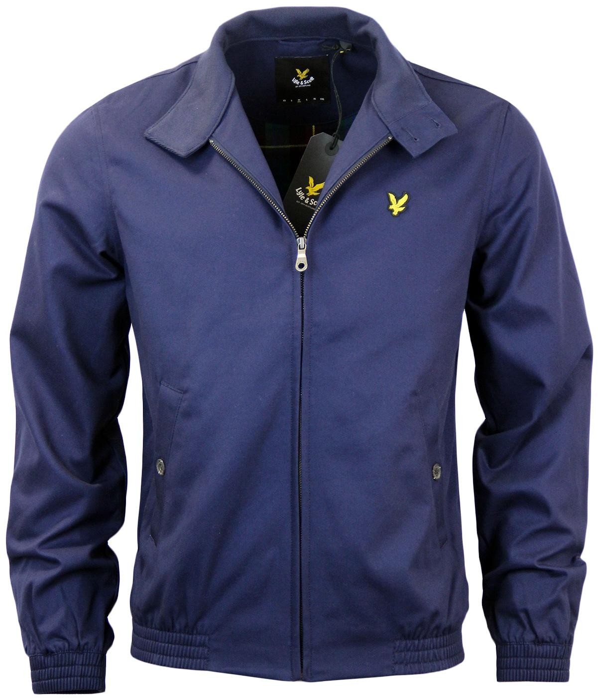 lyle scott retro mod cotton harrington jacket in navy. Black Bedroom Furniture Sets. Home Design Ideas