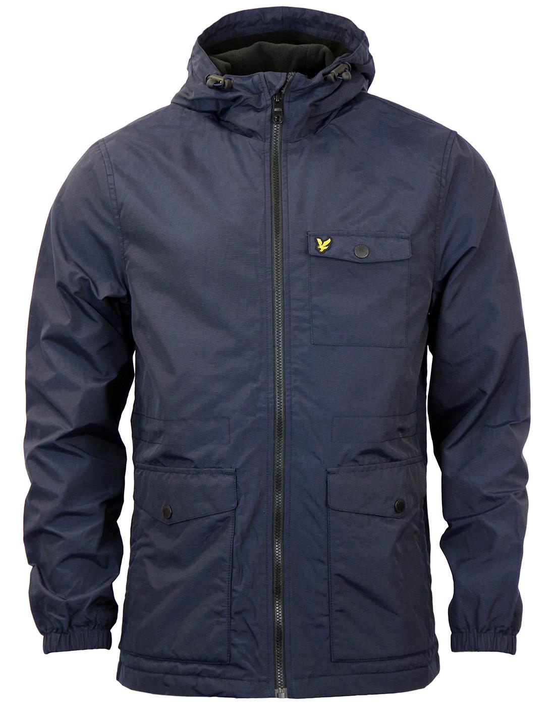 lyle scott microfleece lined mod casual parka jacket in navy. Black Bedroom Furniture Sets. Home Design Ideas