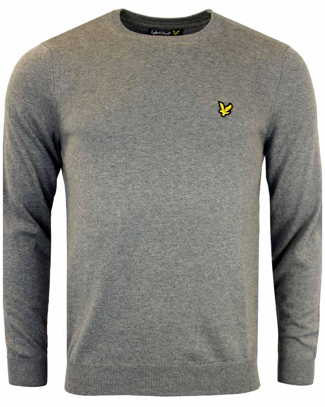LYLE & SCOTT Retro Cotton Crew Neck Jumper Grey
