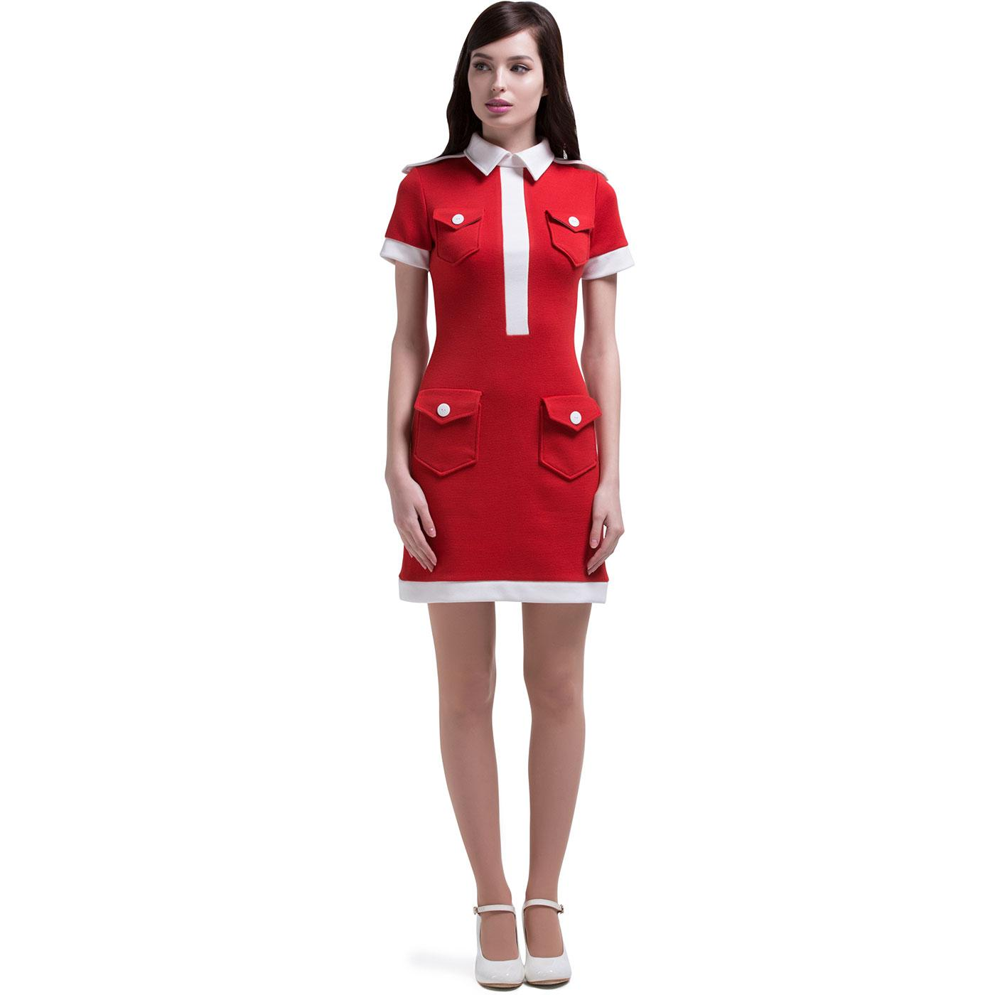 MARMALADE Retro 60s Mod Military Pocket Dress Red