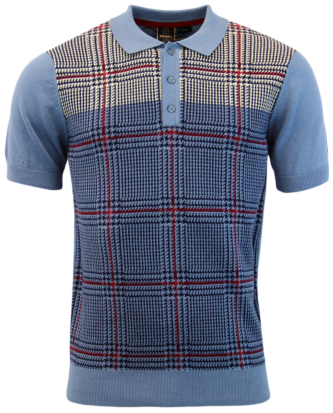 Tetley MERC Mod Prince Of Wales Check Knitted Polo