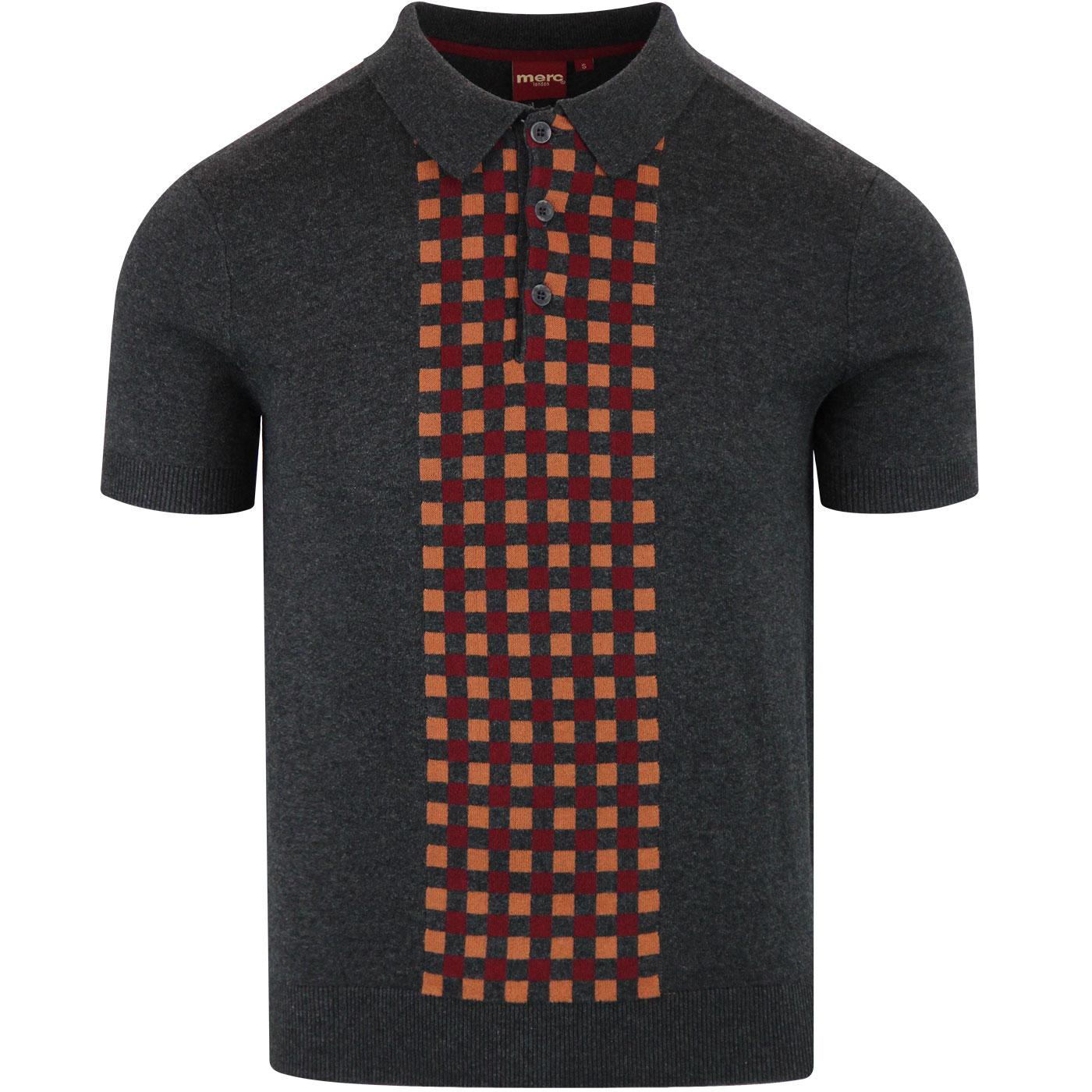 Jarvis MERC Retro Mod Check Knit Polo Top CHARCOAL