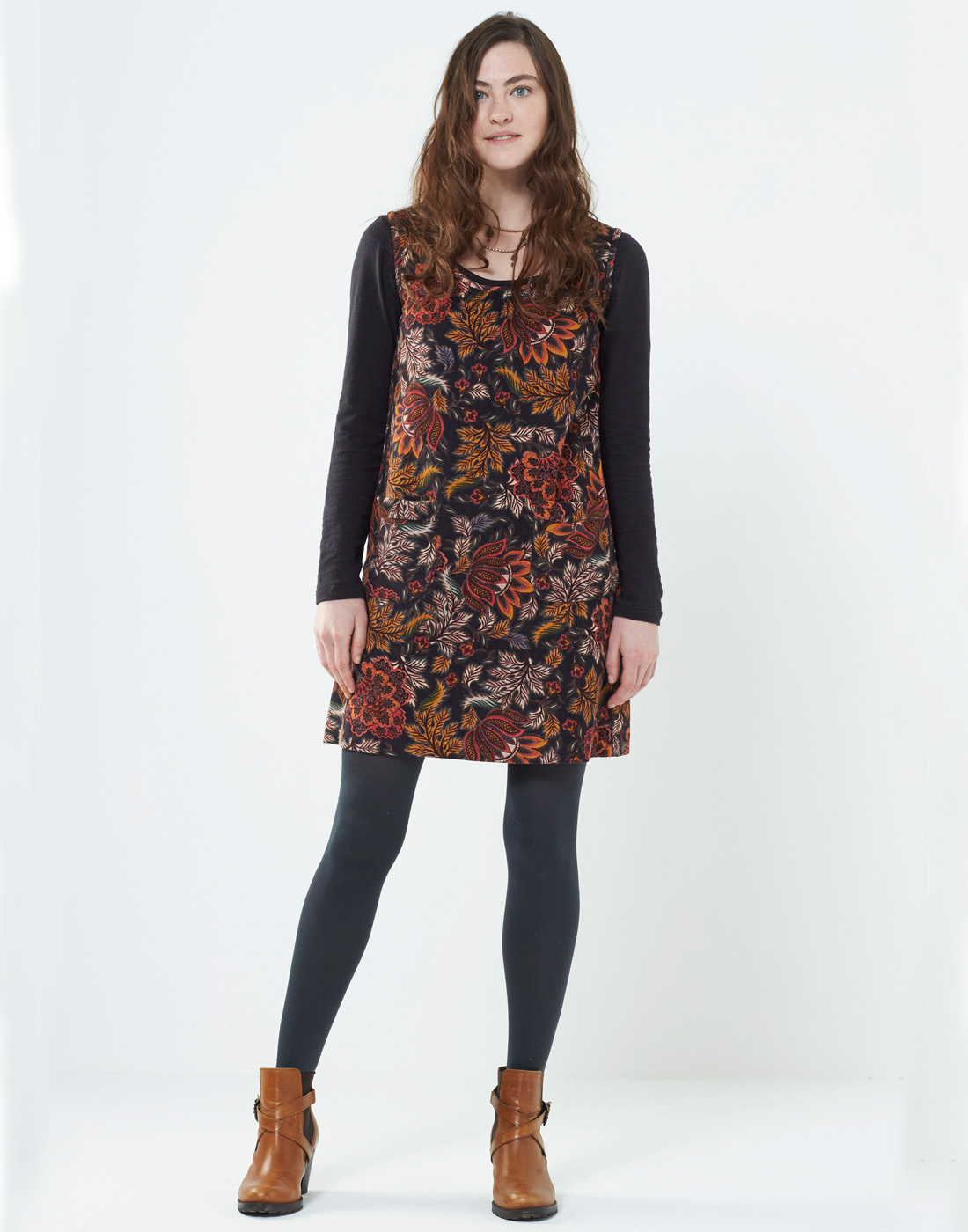 Aurora NOMADS Retro 60s Floral Cord Pinafore Dress