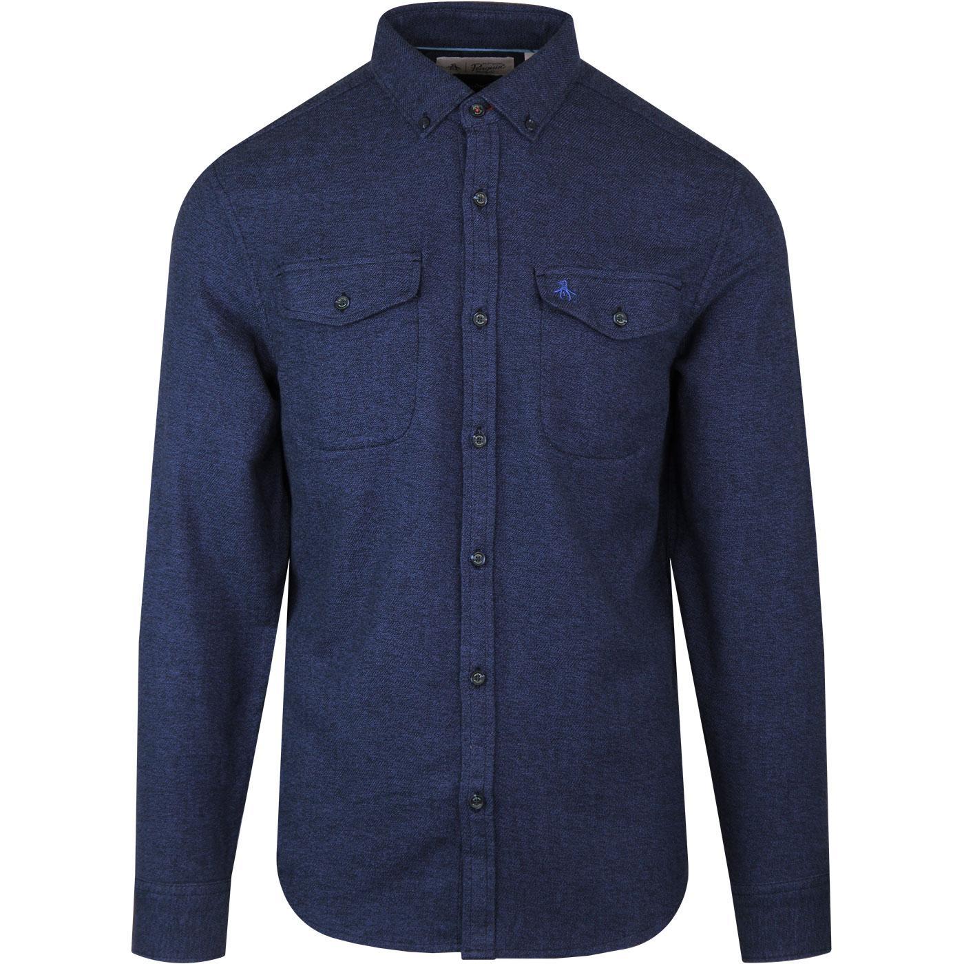 ORIGINAL PENGUIN 60s Mod Flannel Jaspe Shirt BLUE