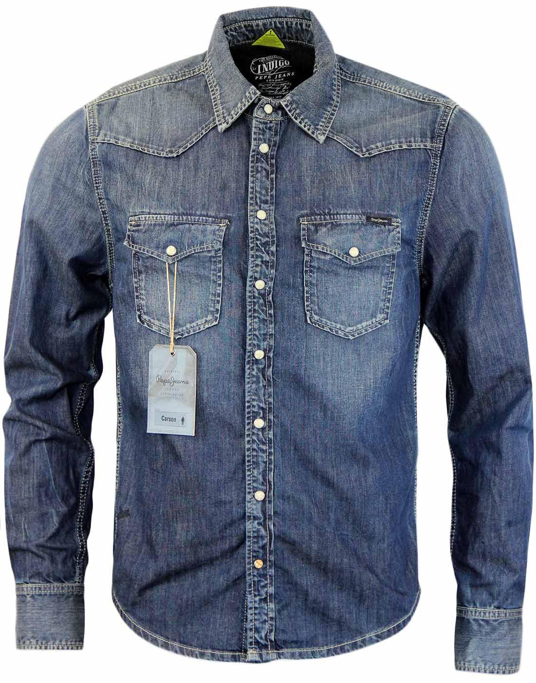 Carson PEPE JEANS Retro Dark Indigo Denim Shirt