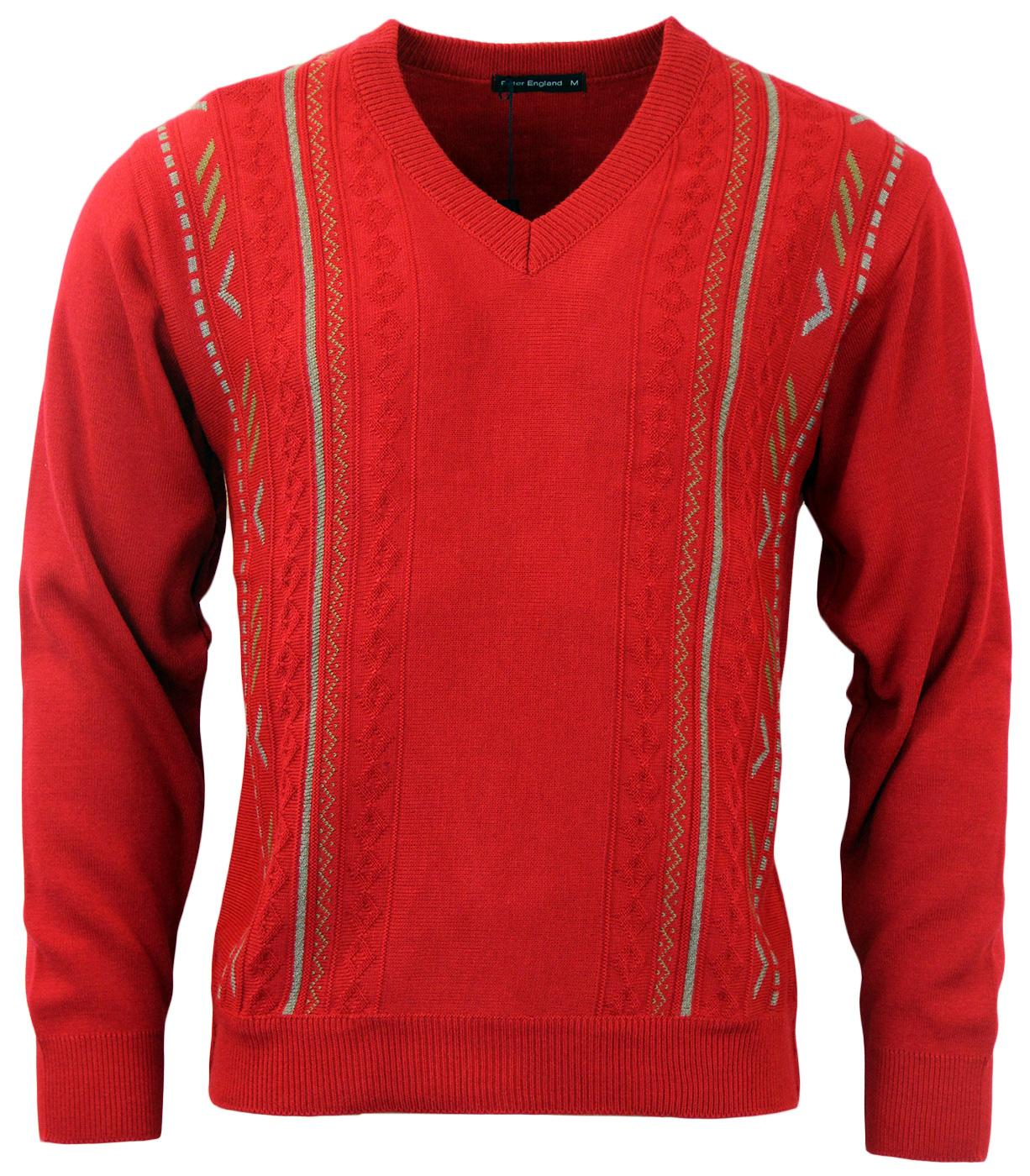 PETER ENGLAND Retro Geo Pattern Knit Jumper