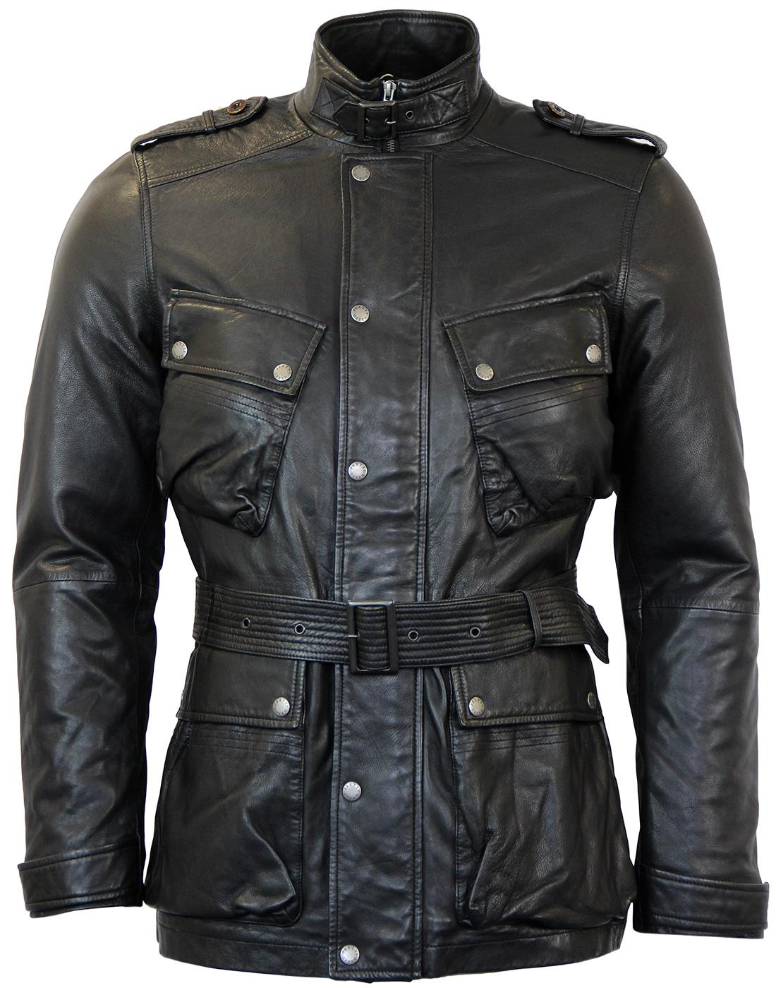Cardale PRETTY GREEN Belted Leather Biker Jacket