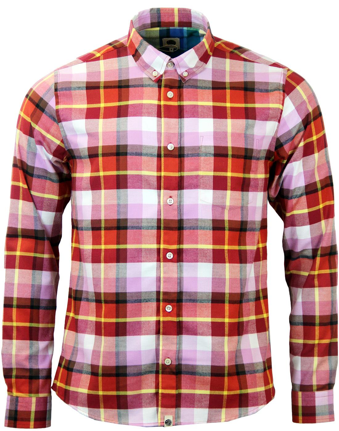 Pretty green retro 60s mod brushed cotton check shirt in red for Red and green checked shirt