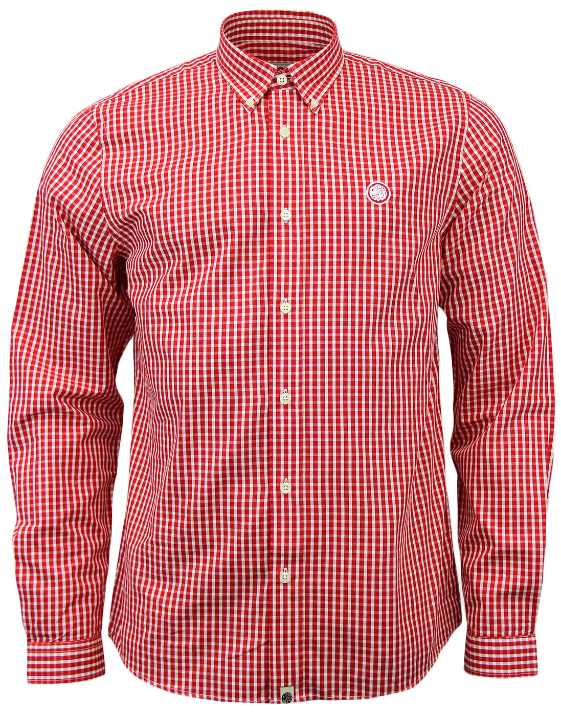 Pretty green ebsworth retro mod 60s gingham shirt in red for Red and green checked shirt