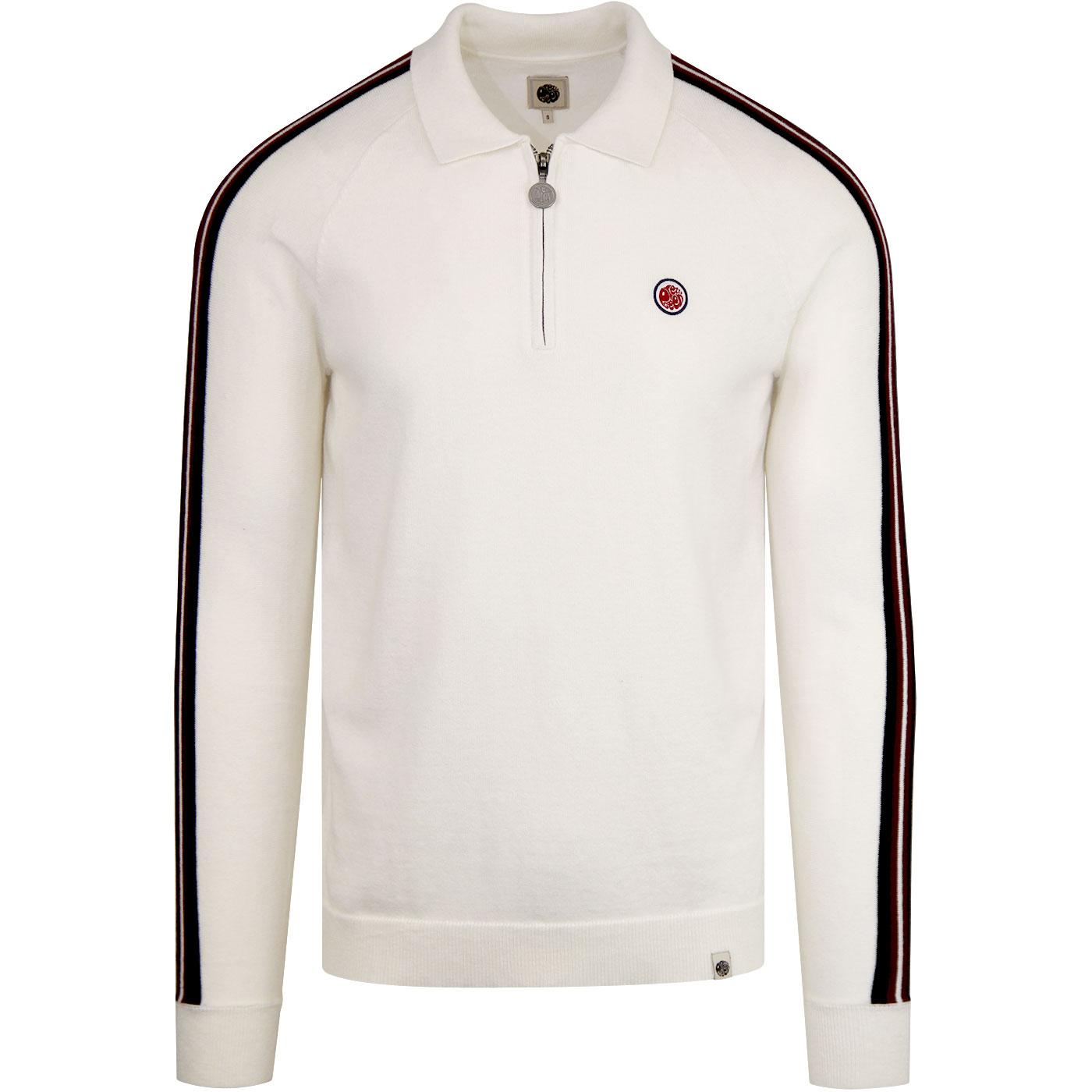 PRETTY GREEN L/S Zip Neck Knitted Mod Polo STONE