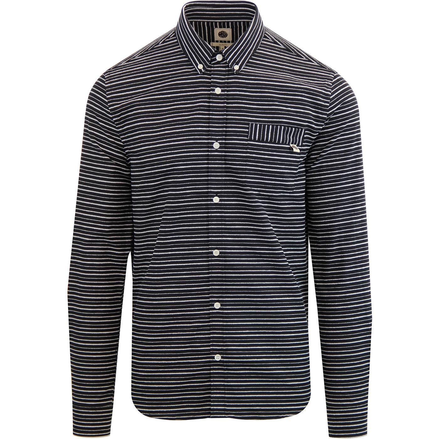 PRETTY GREEN Mod Button Down Jacquard Stripe Shirt