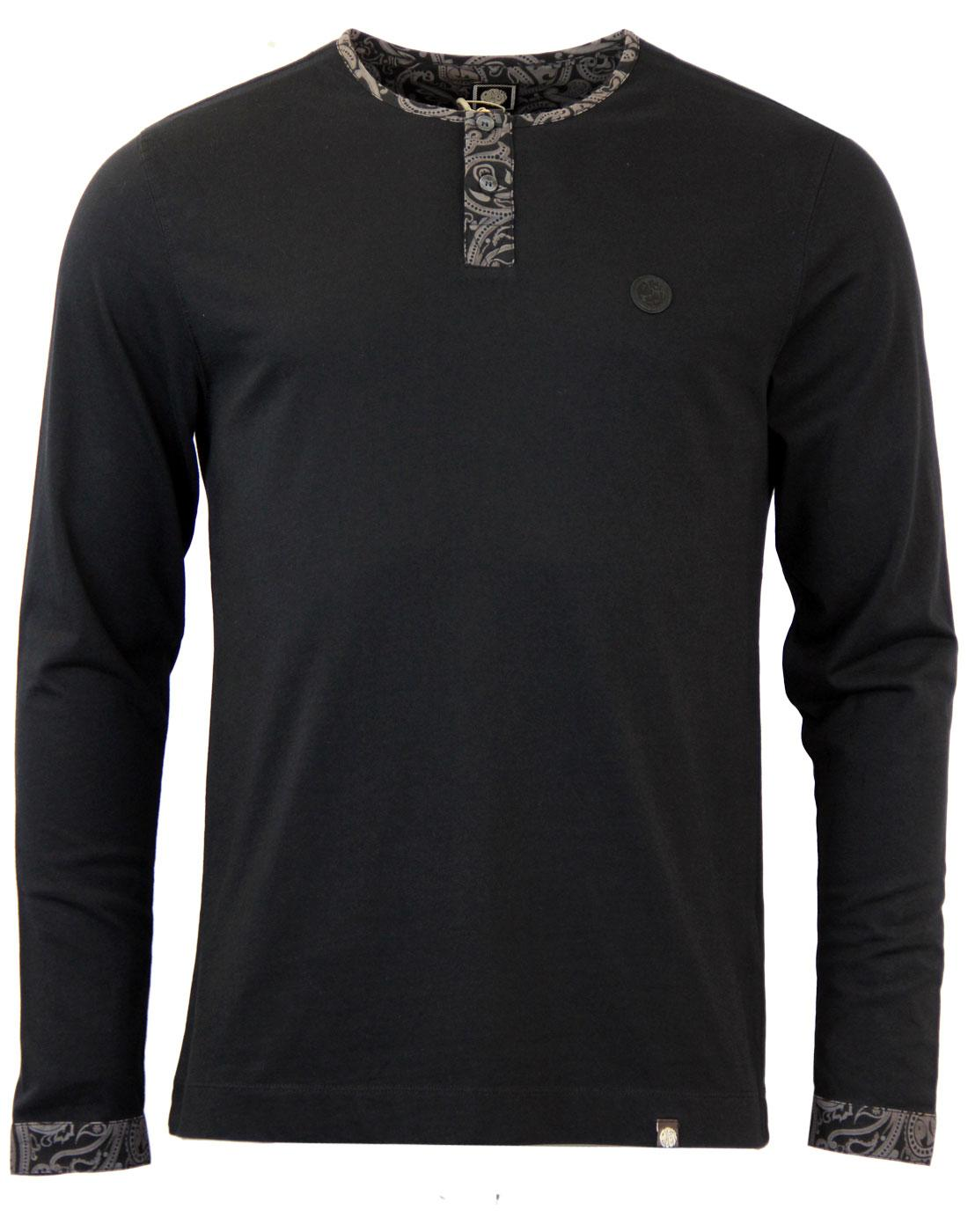 PRETTY GREEN Paisley LS Grandad Collar Retro Tee