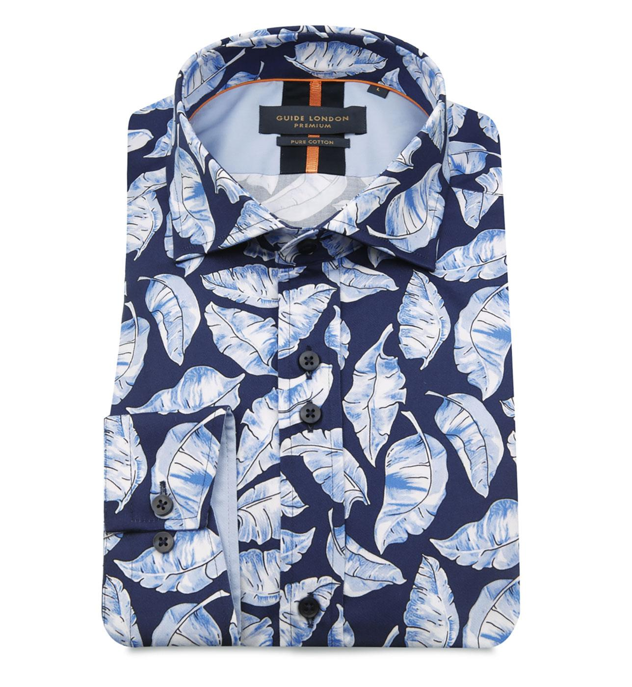 GUIDE LONDON Retro 70s Palm Leaf Print Shirt (Sky)