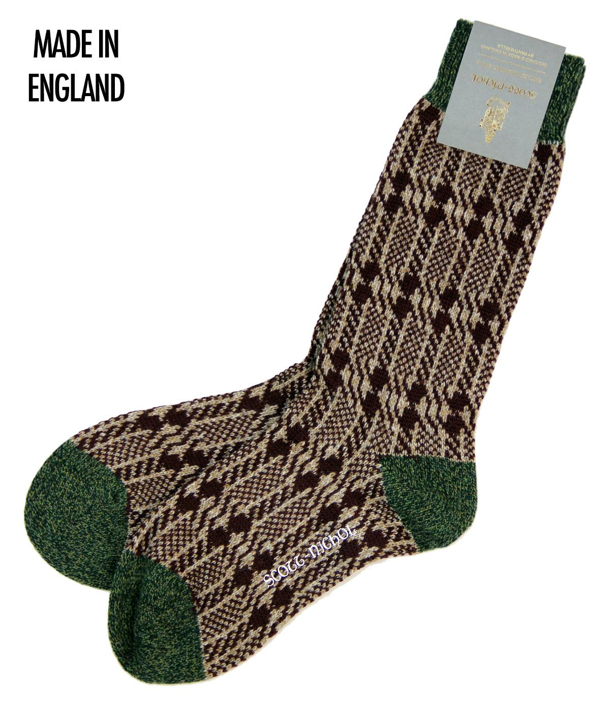 + Kedleston SCOTT-NICHOL Dogtooth Stripe Socks