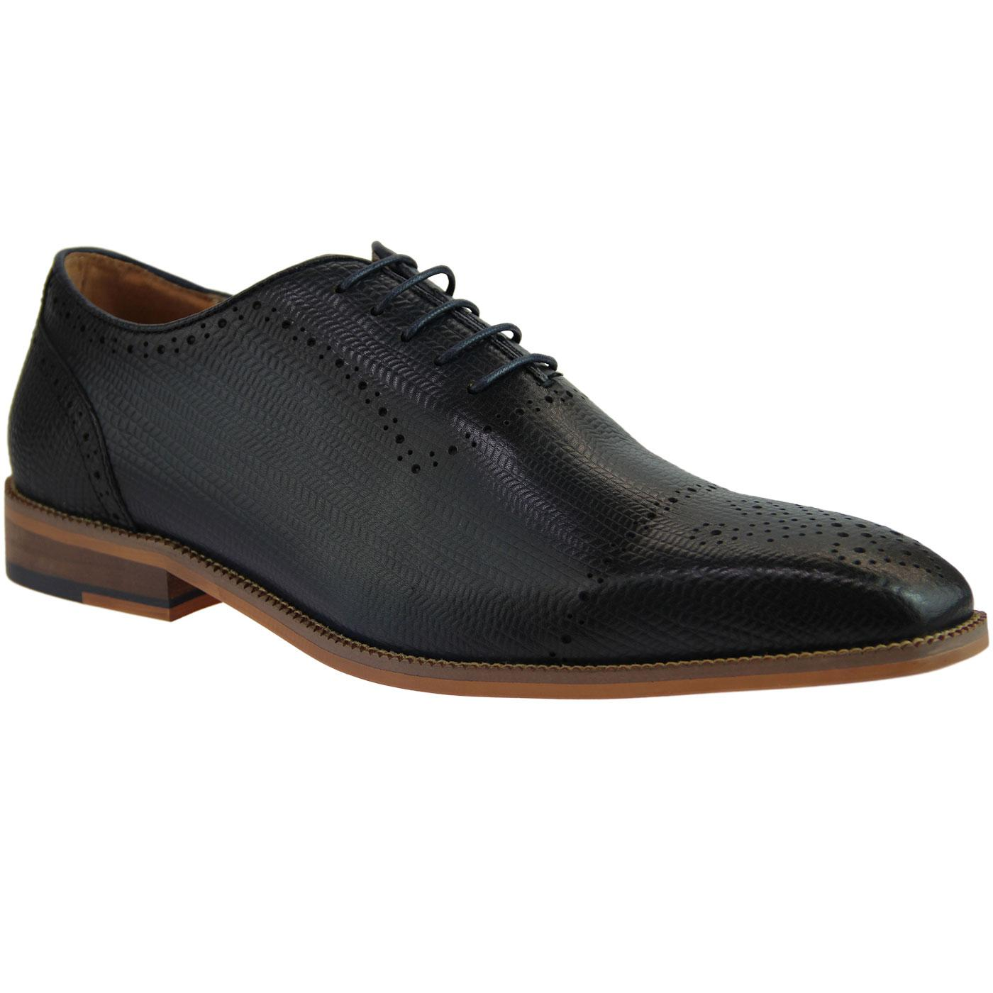 Fabio SERGIO DULETTI Etched Stamp Mod Brogues NAVY