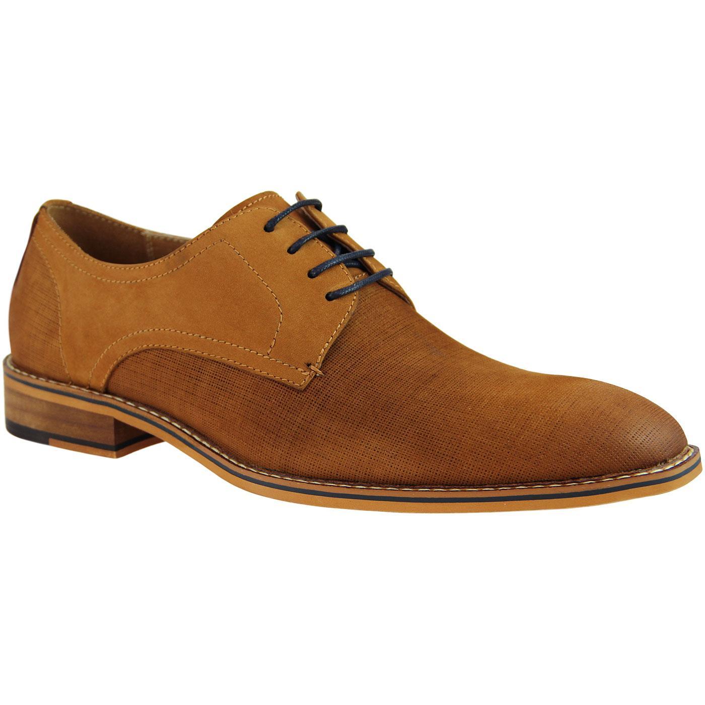 Cedric SERGIO DULETTI Micro Weave Derby Shoes TAN