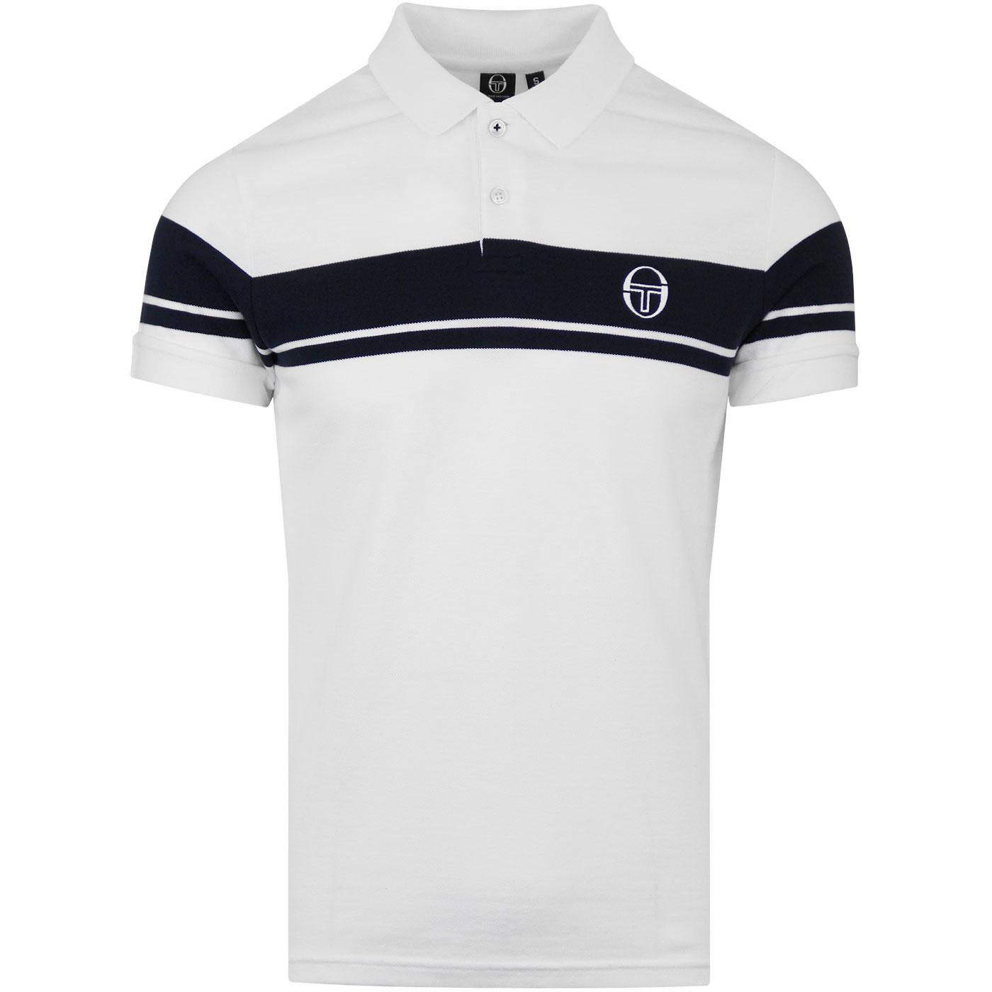 pique 80s casual SALE Sergio Tacchini Young Line Polo Shirt in Navy /& White