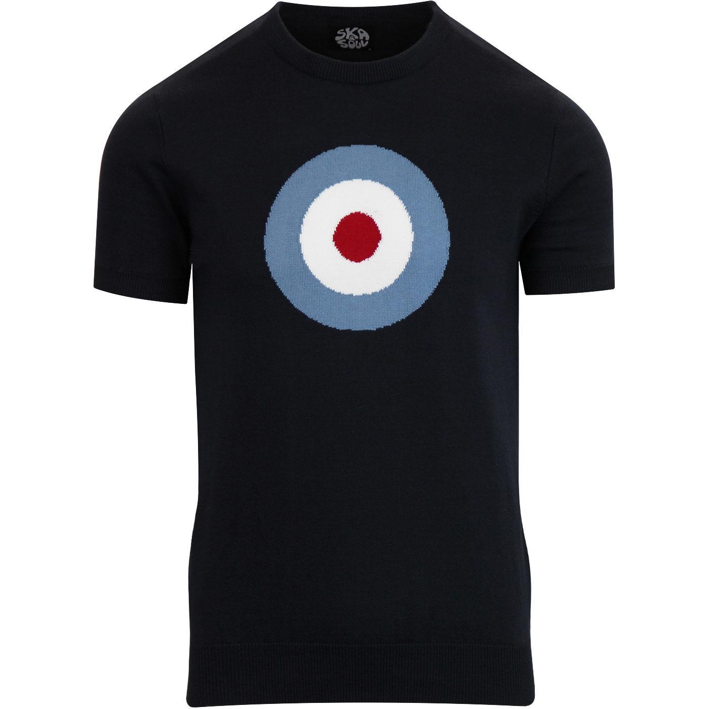 SKA & SOUL Mod Target Retro Knitted T-shirt (Navy)