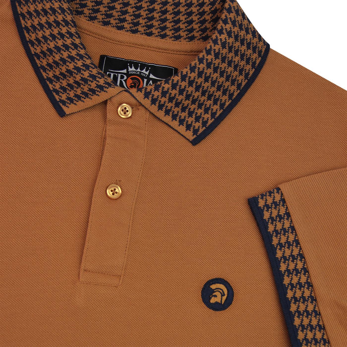 Trojan Records Men/'s TR8419 Houndstooth Trim Polo Shirt Blac Trojan Polo Shirt