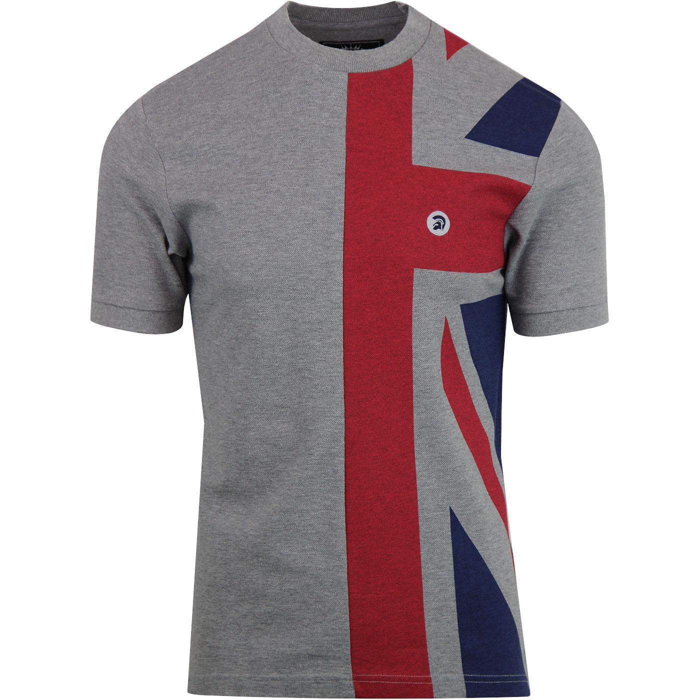 TROJAN RECORDS Union Jack Pique T-Shirt - M. Grey