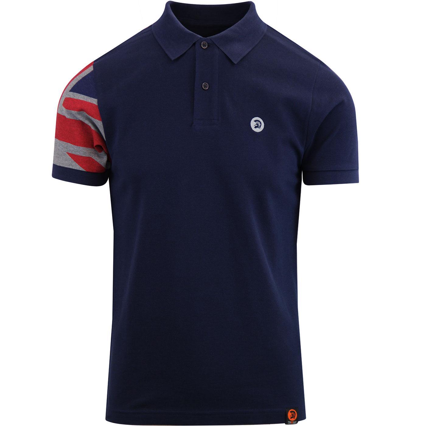 Trojan Records Blue Union Flag Sleeve Pique Polo Shirt