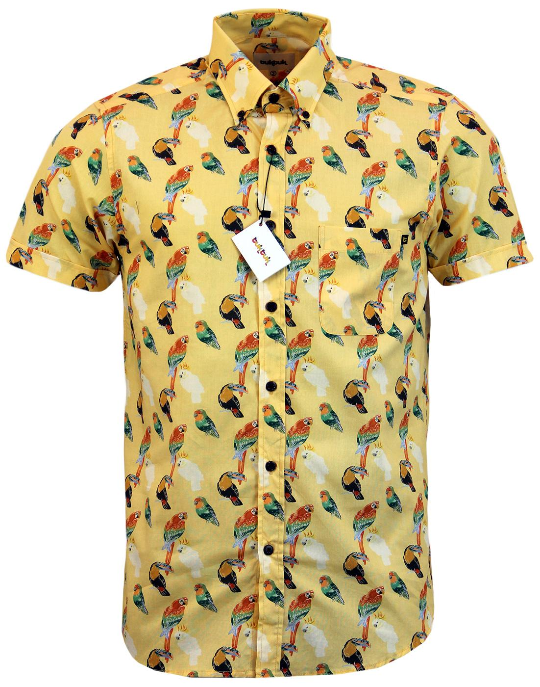 TUKTUK Retro Mod Button Down Parrot Sketch Shirt
