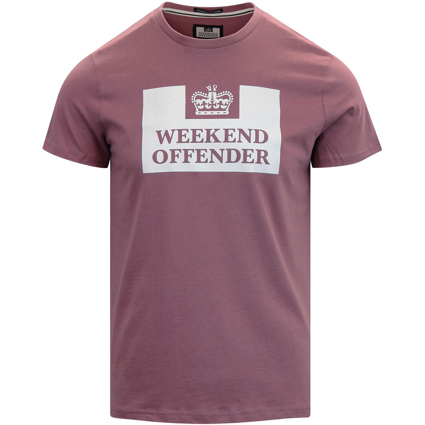 WEEKEND OFFENDER Retro Casuals Prison Tee Plum