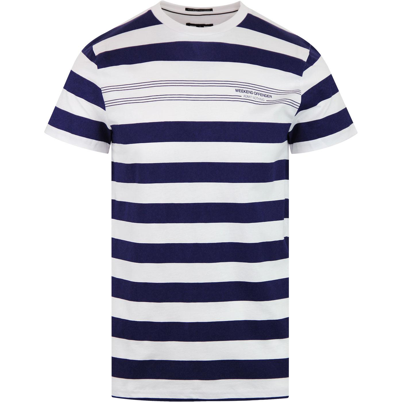 Stripes WEEKEND OFFENDER Retro Stripe Tee WHITE