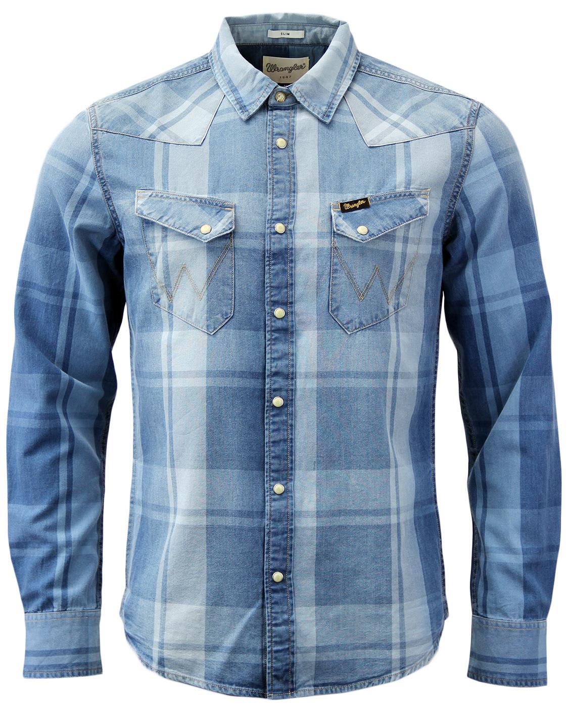 Wrangler indigo dye retro indie mens denim check shirt in for Wrangler denim shirts uk
