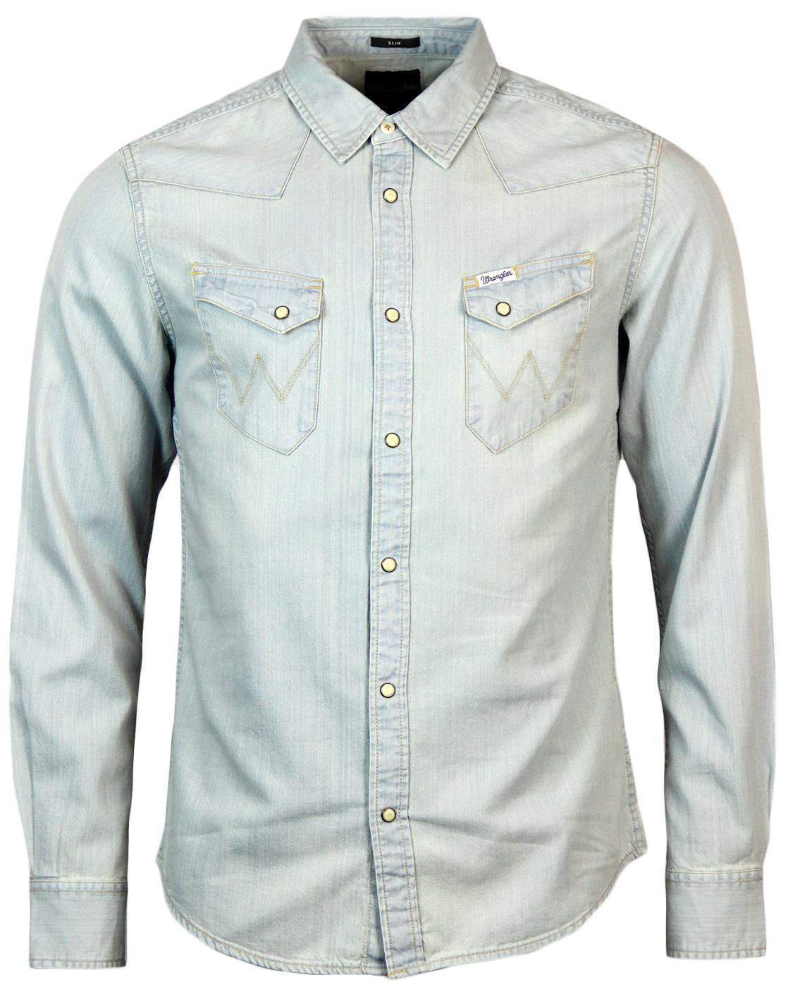 Wrangler city western retro seventies denim shirt in super for Wrangler denim shirts uk