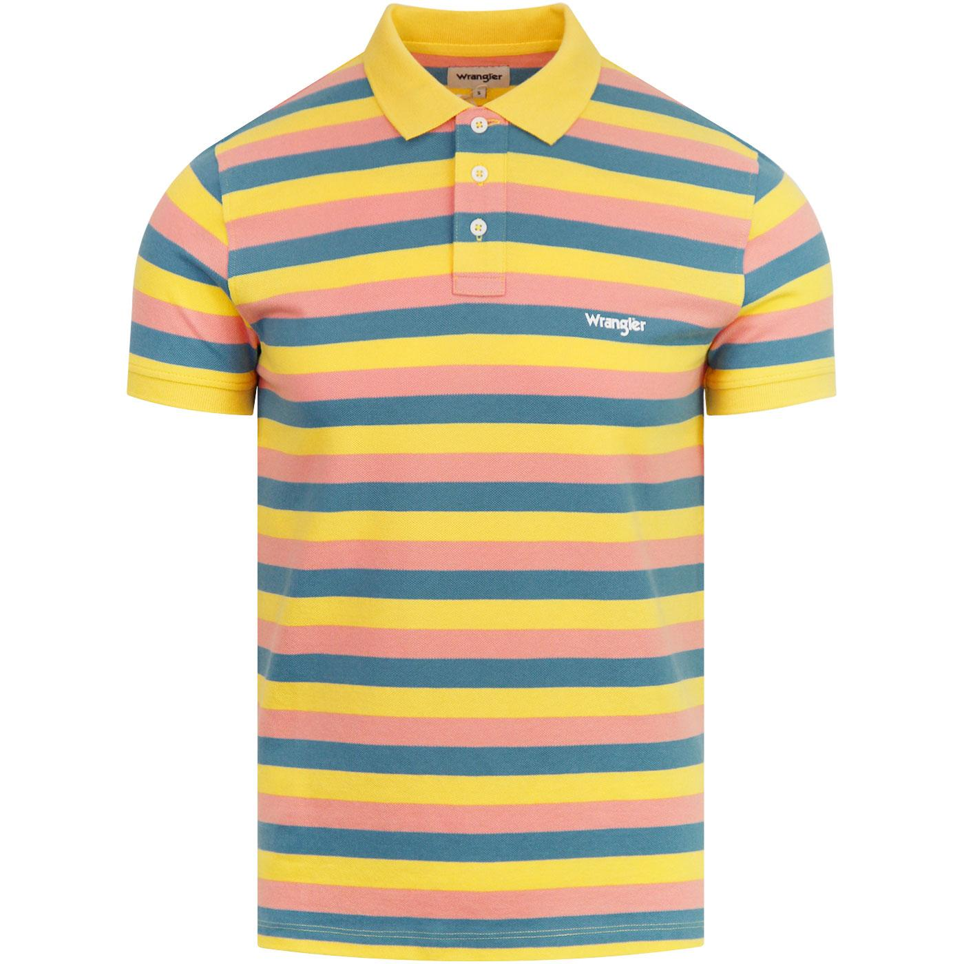 WRANGLER Retro 70s Summer Stripe Polo Shirt (GY)