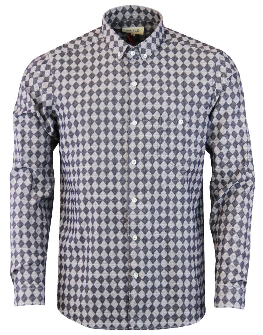 AFIELD Men's Retro Mod Op Art Triangle Check Shirt