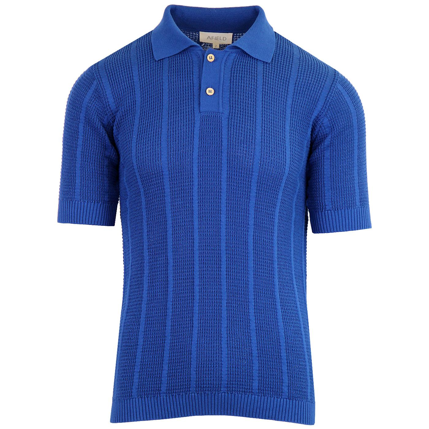 Aaron AFIELD Mens Retro 60s Knitted Crepe Polo Bl